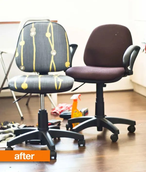desk chair diy hanging macrame before amp after the 5 new upholstery office makeover instructables user graceduval disassembled a pair of old task chairs and then used about worth fabric secured with staples to cover worn brown