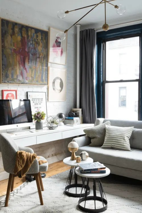 living room small apartment what color to paint my with dark brown furniture 7 ways fit a workspace into space therapy image credit homepolish in