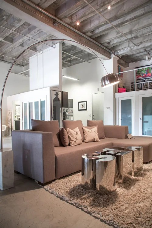 living room light sectional pictures how to properly a apartment therapy image credit ashley s soft industrial artist loft