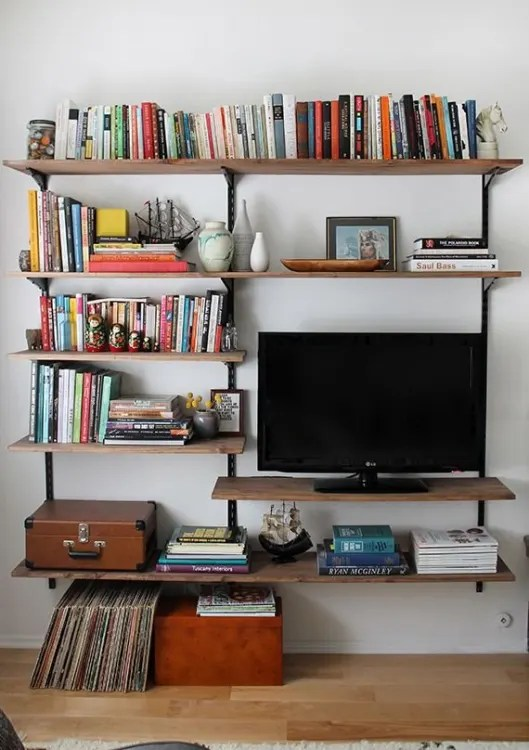 diy shelves in living room light turquoise walls small space 25 projects for your apartment therapy