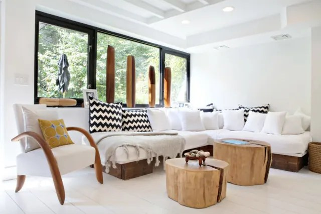 modern look living room curtain ideas organic get the apartment therapy lyndsay and fitzhugh are talented designers who renovated their brooklyn home built much of furniture themselves from reclaimed wood