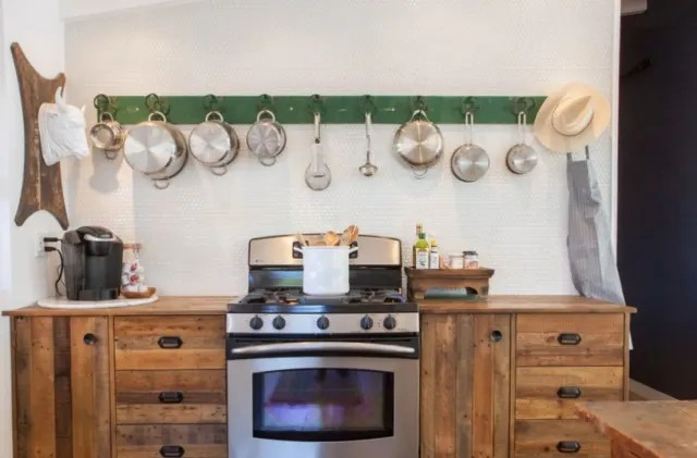 kitchen pot rack lights ideas for hanging pots pans from real homes apartment therapy image credit sarita relis and carrie bluth