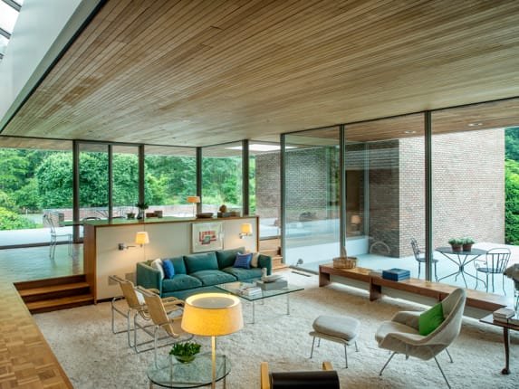 living room pictures sofa for a small brief history of the sunken apartment therapy ulrich franzen s dana house built in 1960 features image from sotheby via curbed