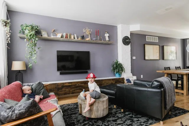 wall painting colors for living room dark wood floors in we found the best purple paint color interiors apartment therapy image credit carina romano
