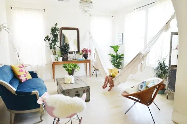 hanging chair in living room student desk bring the outdoors hammocks chairs apartment therapy