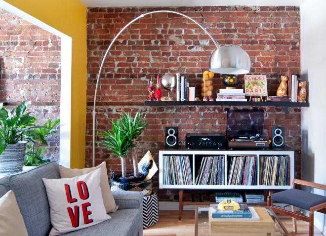 A Couple Gets Creative With the Layout of Their Small, Colorful Rental