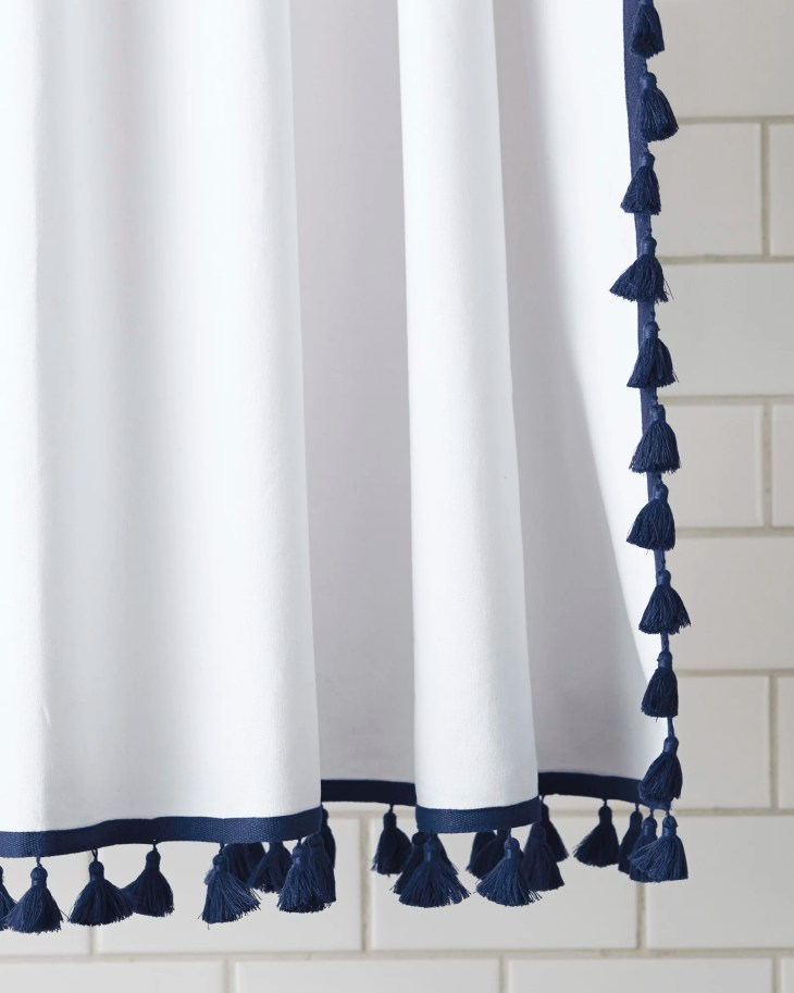 2. French Tassel Shower Curtain