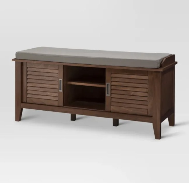 4. Storage Bench With Slated Doors