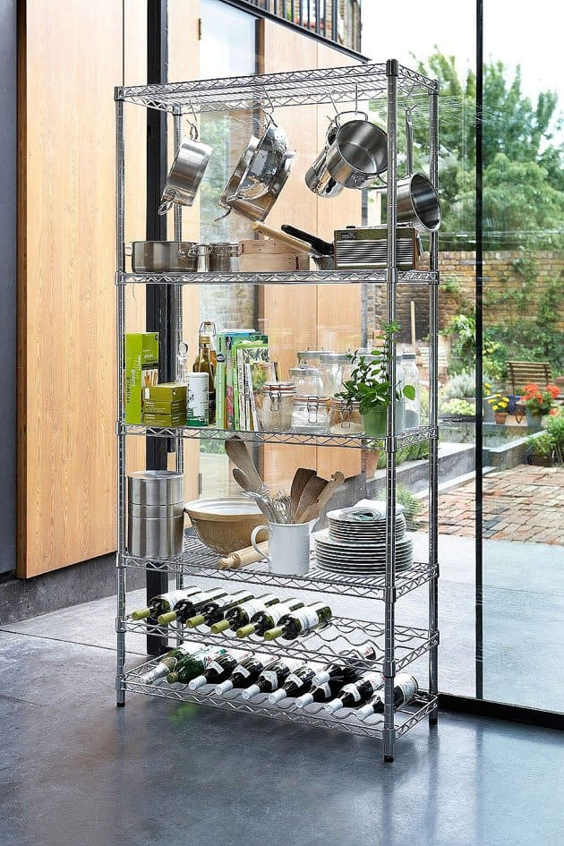 use wire shelves in your kitchen
