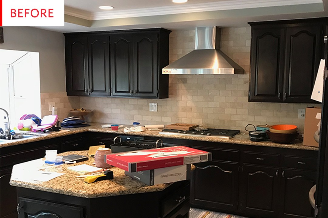 Before and After: A Once-Dark Kitchen Is Brightened and a Bold Backsplash Added