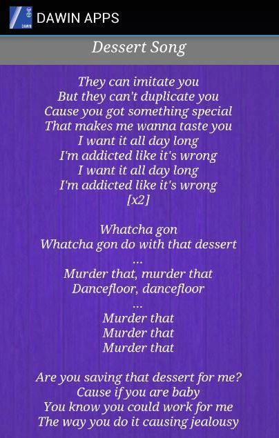 Dawin Dessert Lirik : dawin, dessert, lirik, Download, DAWIN, Lyrics, Android, Music, Audio, التطبيقات