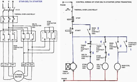 star delta wiring diagram of motor
