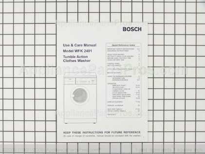 Bosch 00522854 Use & Care Manual, Wfk 2401