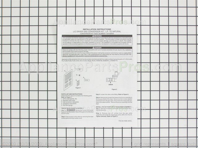 Frigidaire 134169500 Gas Conversion Kit,lp to Natural