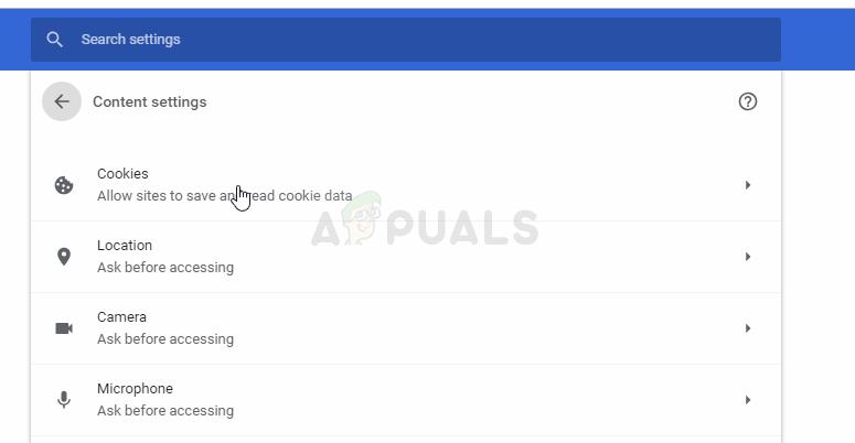 Einstellungen für Google Chrome-Inhalte