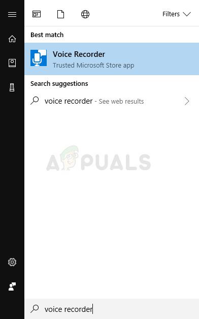 Voice Recorder im Startmenü