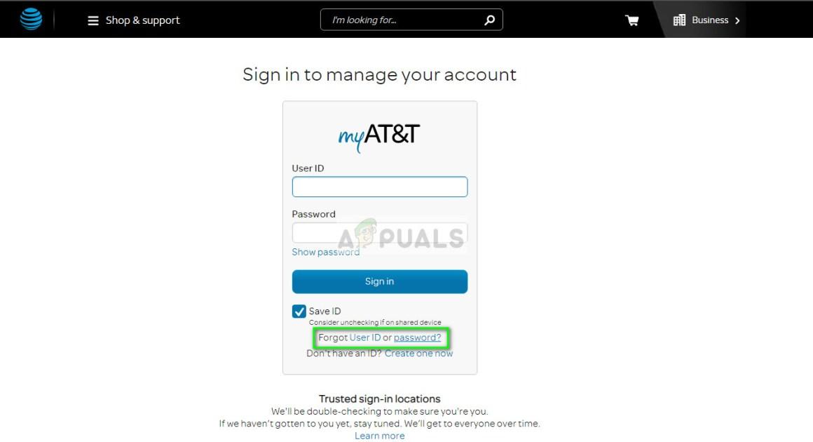 Passwort / E-Mail vergessen - AT & T.