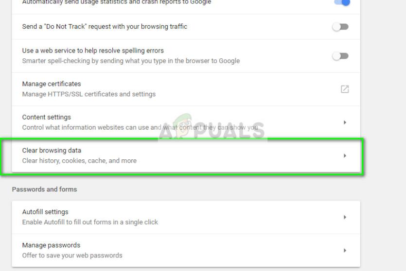 Löschen von Browserdaten in Google Chrome