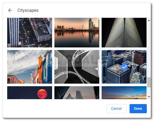 Auswählen eines benutzerdefinierten Hintergrunds für neue Registerkarten