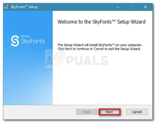 Klicken Sie an der ersten Eingabeaufforderung des SkyFonts-Assistenten auf Weiter
