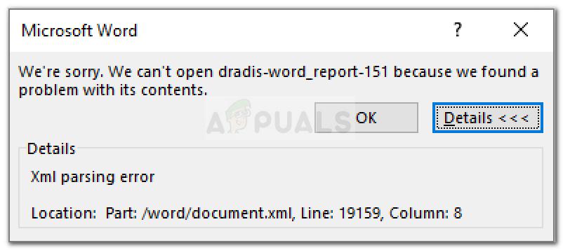 Error de análisis de XML de Word