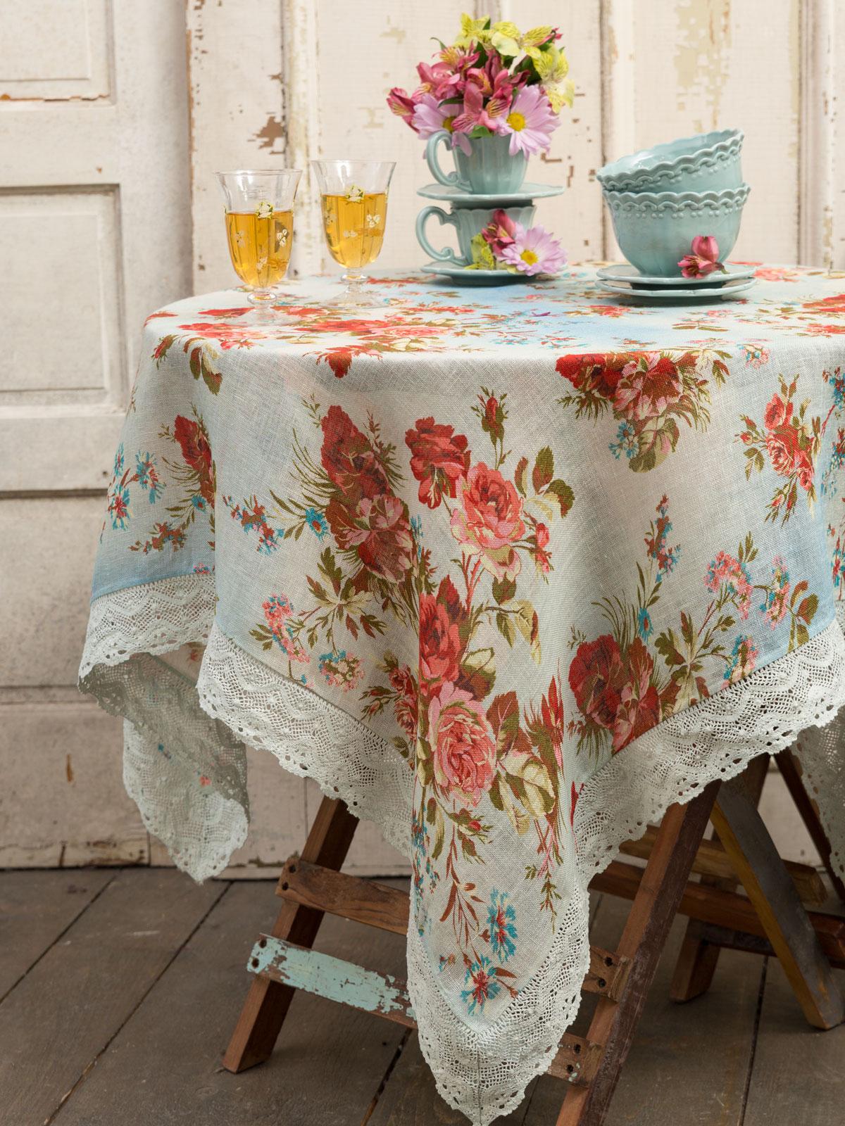 Heirloom Rose Linen Tablecloth  Linens  Kitchen