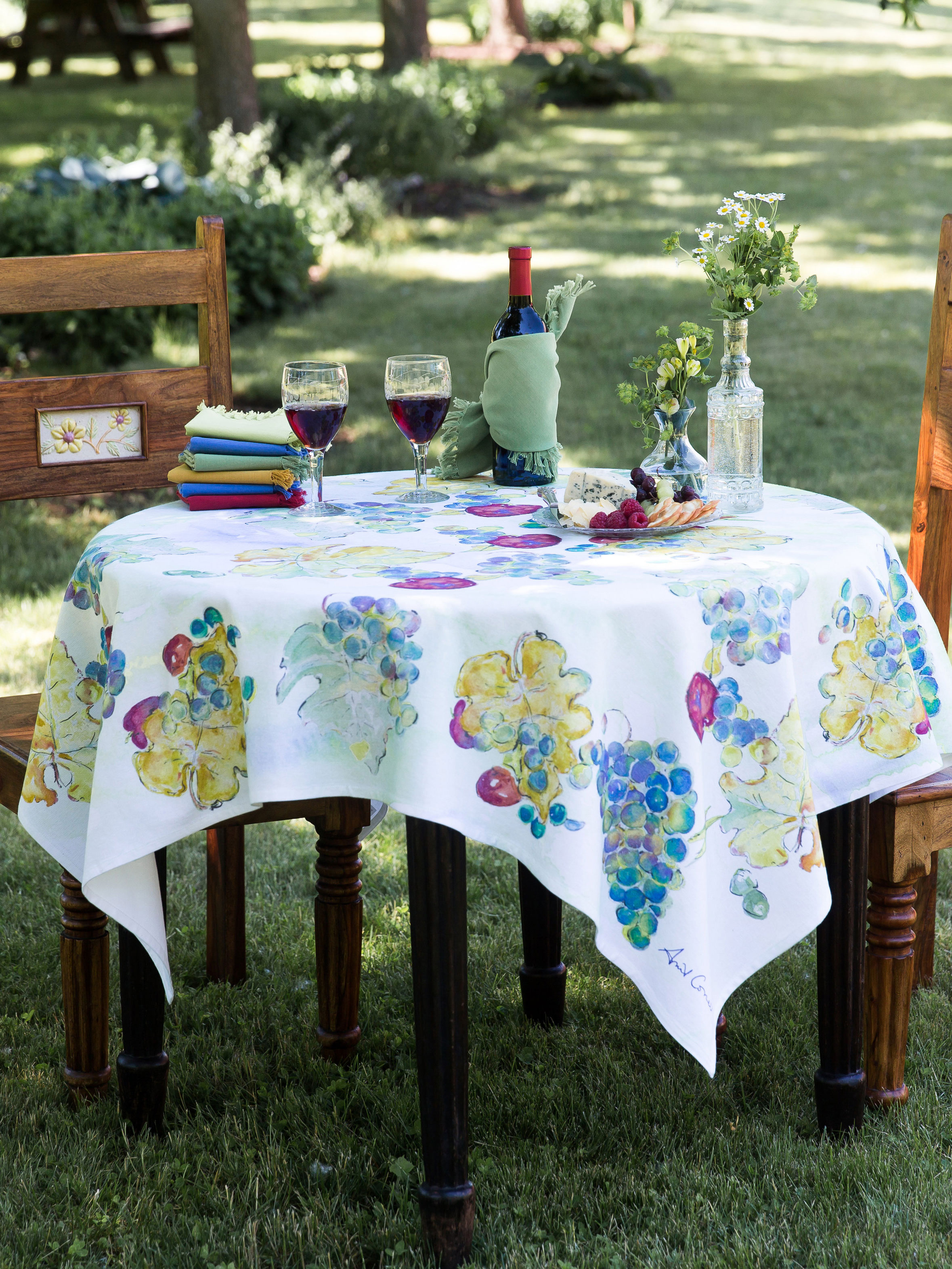 Wine Country Tablecloth  Linens  Kitchen Tablecloths