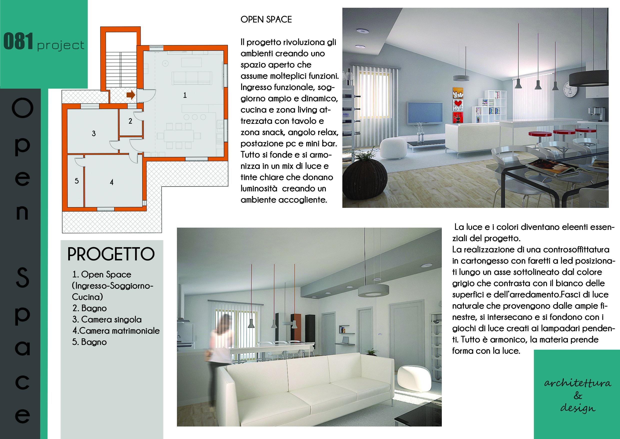 È il nuovo concetto di abitazione moderna, che abbatte i muri e ricerca più spazio, adatta soprattutto ai monolocali, ai loft e ai grandi appartamenti, dove si preferisce la convivialità e il desiderio di fondere due ambienti in. Open Space 081project
