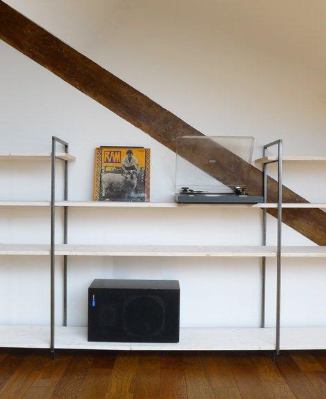 etagere modulable en bois et en acier