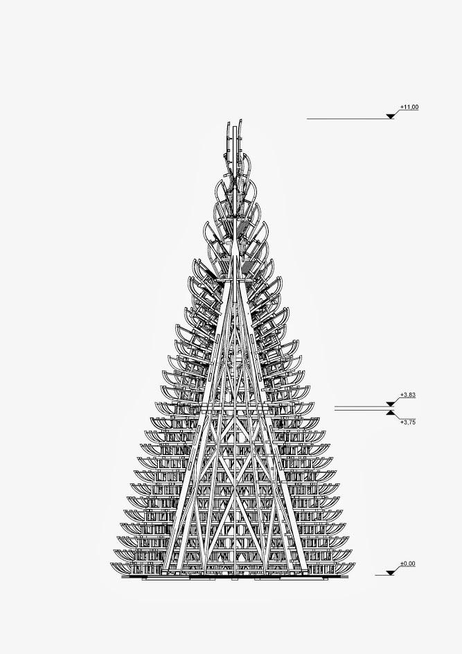 Hello Wood Uses 365 Sleighs To Build An 11 Meter Christmas