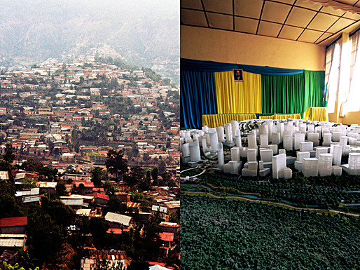 Kigali context and Image of Kigali Masterplan model, Courtesy of Killian Doherty