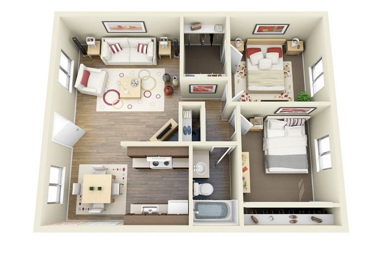 """50 Two """"2"""" Bedroom Apartment House Plans Architecture & Design"""