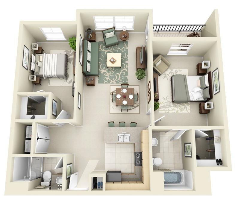 12 2 Bedroom 3d Apartment Ideas Apartment Floor Plans Apartment Layout Apartment Plans