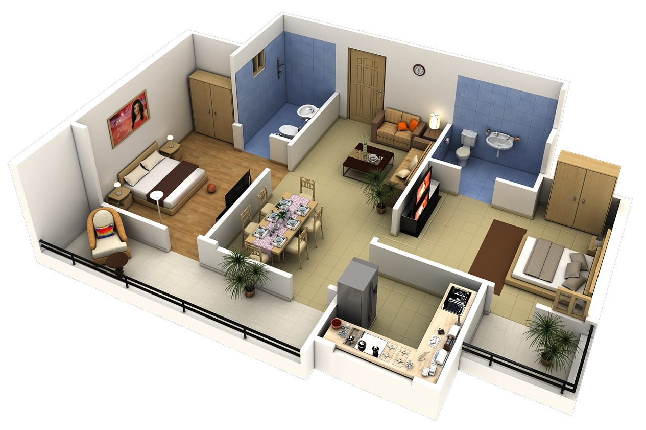 50 Two 2 Bedroom ApartmentHouse Plans  Architecture  Design