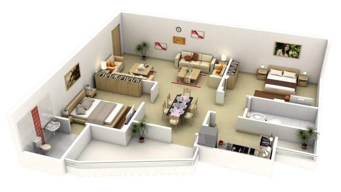 41 L Shaped 2 Bedroom Apartment