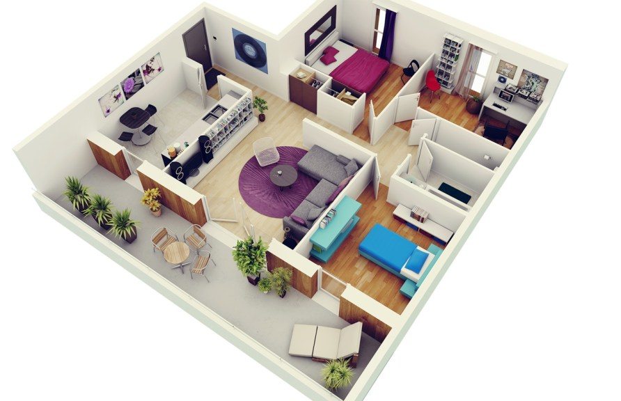 """50 Three """"3"""" Bedroom Apartment/House Plans 