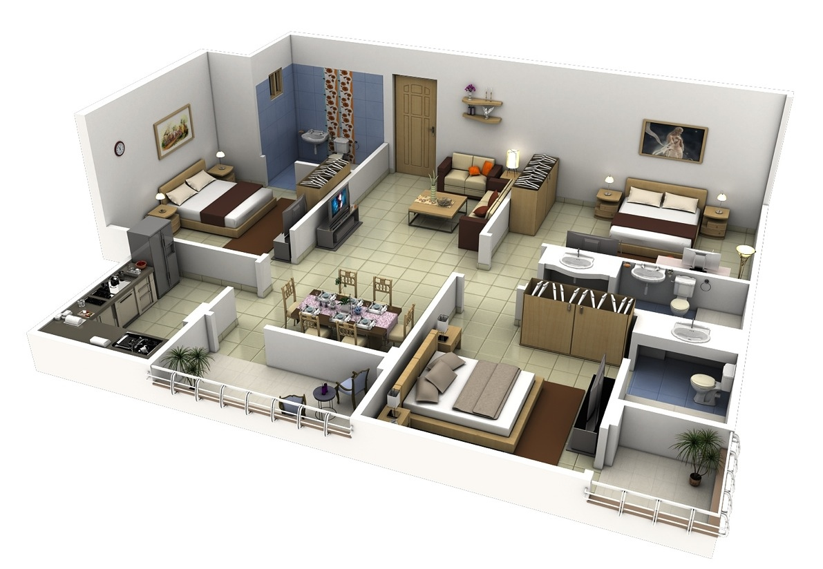 50 Three 3 Bedroom ApartmentHouse Plans  Architecture  Design