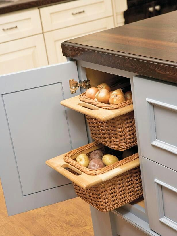3 Potato and onion storage baskets Tiny Kitchen Solutions
