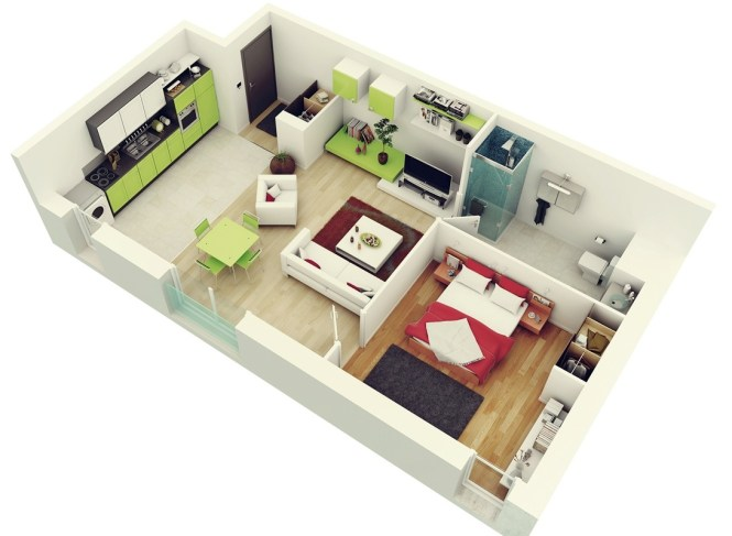 1 Colorful Bedroom Apartment