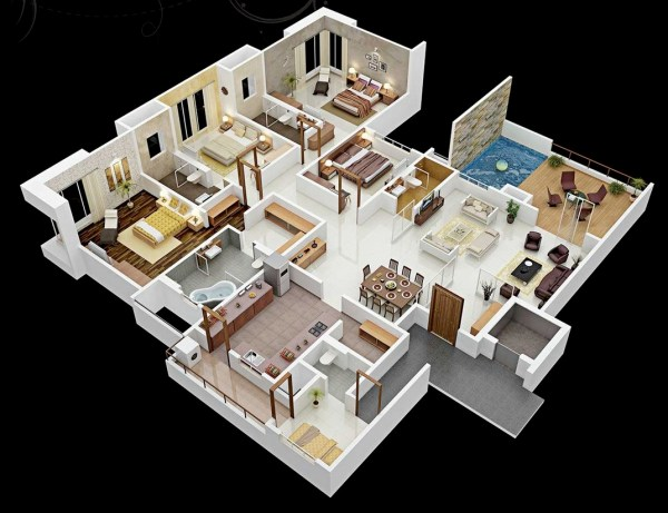 Apartment 4 Bedroom House Plans