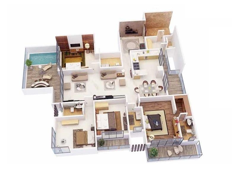 50 Four 4 Bedroom ApartmentHouse Plans  Architecture