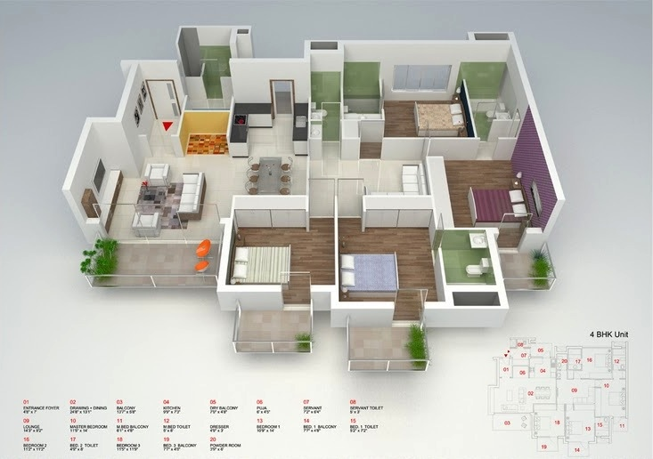 "50 Four ""4"" Bedroom Apartment House Plans Architecture & Design"