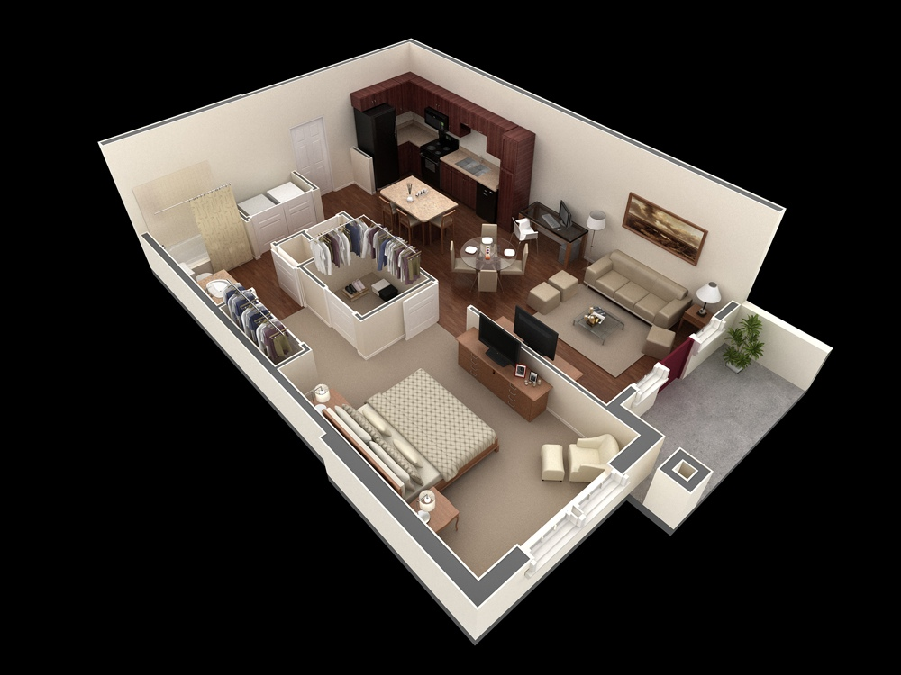 """50 One """"1"""" Bedroom Apartment House Plans Architecture & Design"""