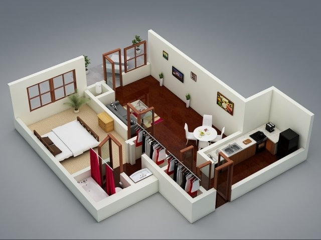 50 One 1 Bedroom ApartmentHouse Plans