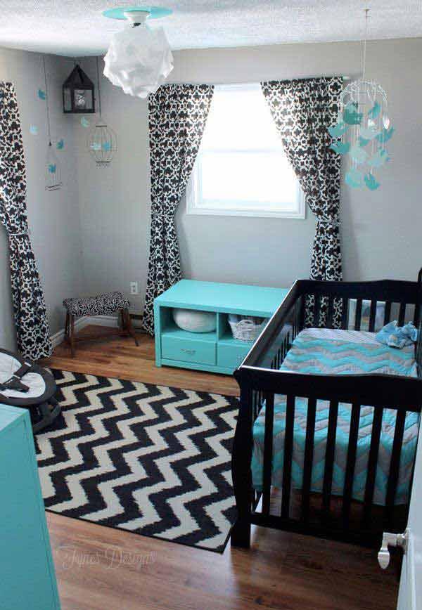 E Saving Design Nursery Furniture Set In Aquamarine Interior Theme Color