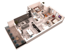 3D 3 Bedroom House Plan Designs