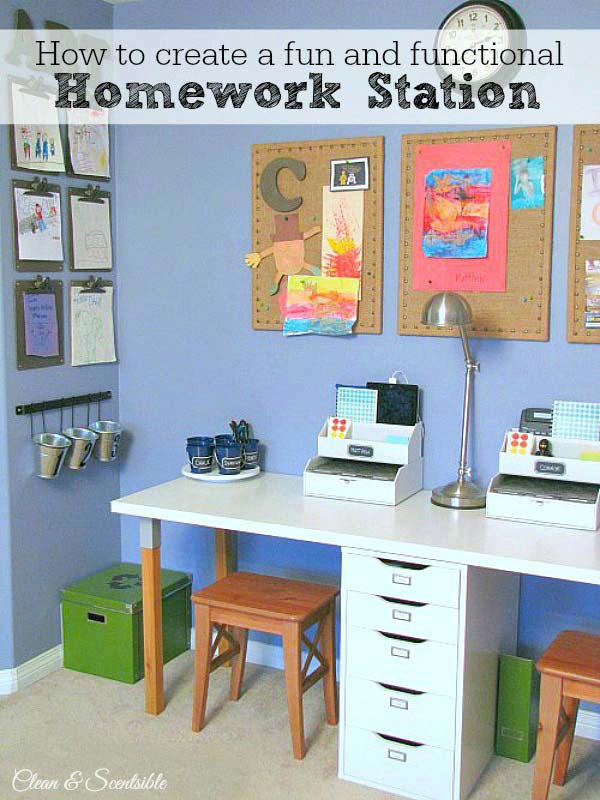24 Adorable and Practica Homework Station Ideas That Your Kids Will Love  Architecture  Design