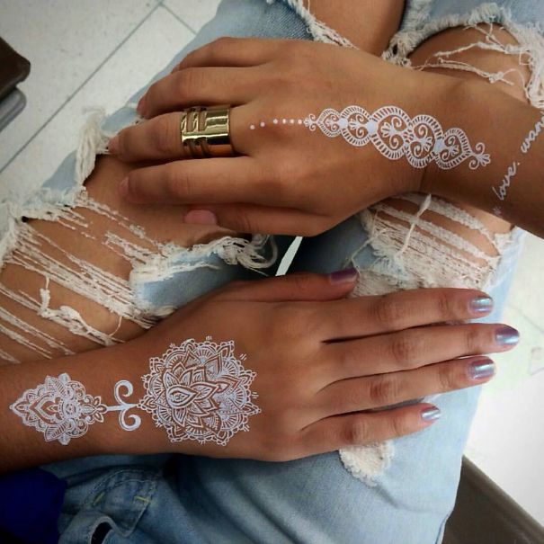 30 Stunning White Henna Inspired Tattoos That Look Like