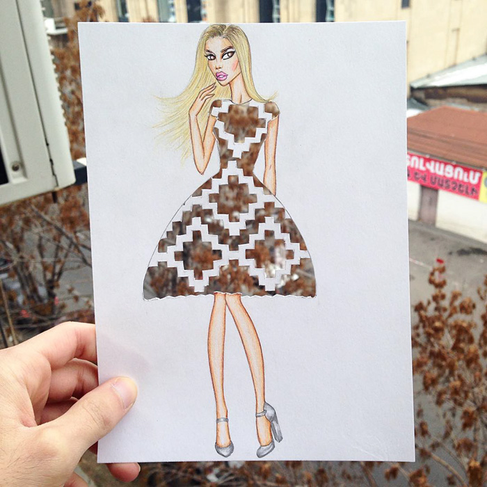 Armenian Illustrator Completes His CutOut Dresses With