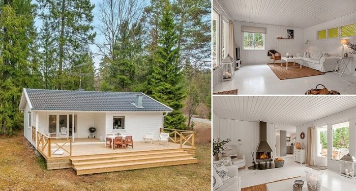simple clean living room design set with tv a small white house in the woods of sweden